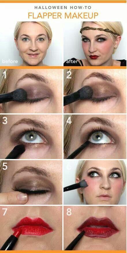 Love the dark red lip line! Flapper makeup More