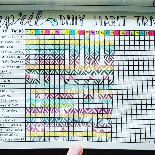 Daily Habit Tracker Spread - April 2017  Sheesh, I love this thing getting filled in! It feels so good!