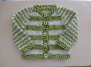 Plain or Striped Baby Classic Cardigan pattern by Glenwell Associates Ltd.