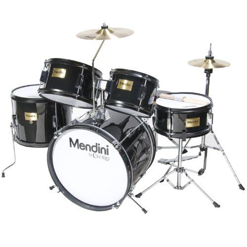 Mendini MJDS-5-BK Complete 16-Inch 5-Piece Black Junior Drum Set with Cymbals, Drumsticks and Adjustable Throne. #BEST SELLER in Drum Sets