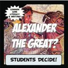 "This activity is student centered and Common Core! First, students read a brief history about the famous Alexander the Great. Then, they analyze some of his more controversial accomplishments and evaluate his ""greatness"". Next, students formulate an opinion and use his accomplishments as evidence to support their beliefs.They create a conclusion, and even draw parallels about his accomplishments and what makes a person great."