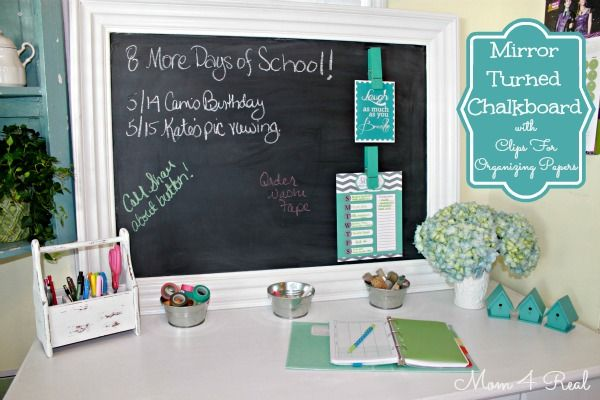 Mirror Turned Chalkboard with Clips for Organizing Papers @mom4realky