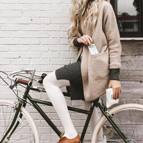 White Tights | Grey Sweater Dress | Neutral Coat | Portraiture