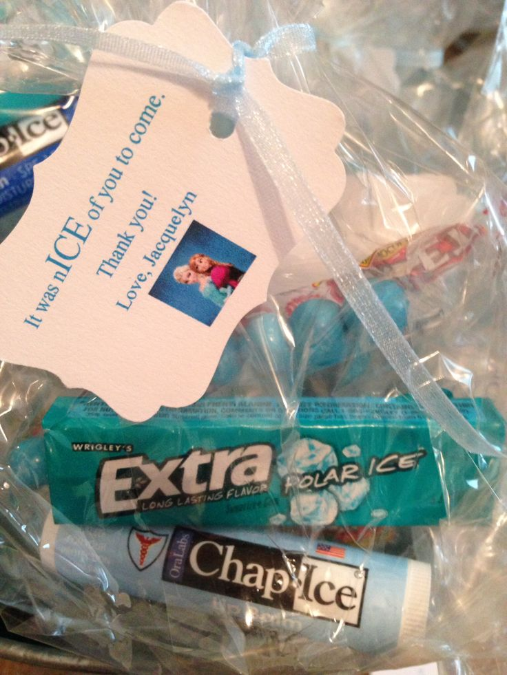 Frozen gift bags: ice gum, blue candy, and ChapIce chap stick from local dollar store.