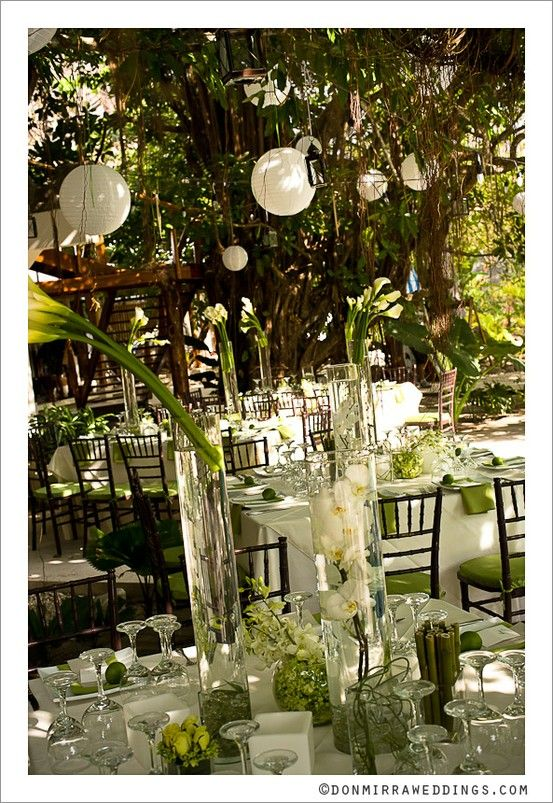 Green and white wedding setting
