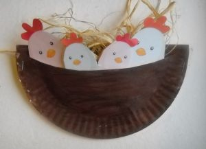 Birds in a nest paper plate craft