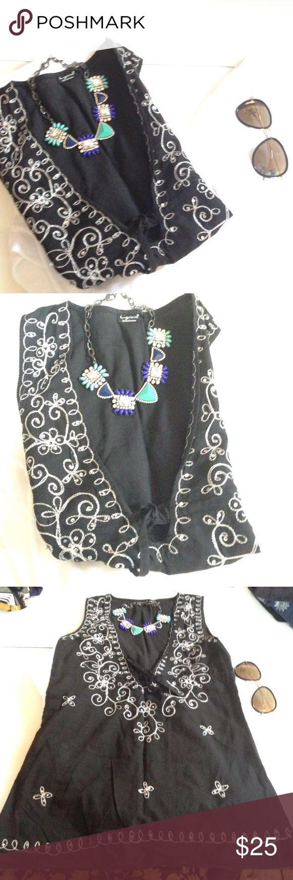 Swim tunic take 20% off sale Blk and silver beachwear tunic .. So gorgeous must see Cejon Swim Coverups