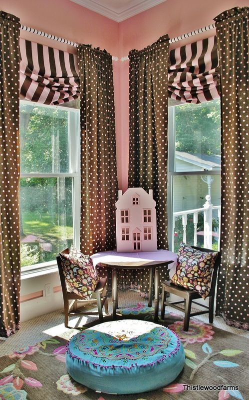 Looking out over the pond :)  Pink and brown bedroom.