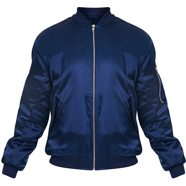 Cruz Gold Satin Oversized Bomber Jacket ❤ liked on Polyvore featuring outerwear, jackets, blue jackets, bomber jacket, flight jacket, satin jackets and blouson jacket
