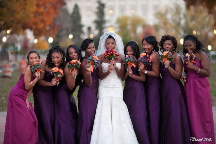 Eggplant Bridesmaid Dresses And Bouquets - Overlay Wedding Dresses