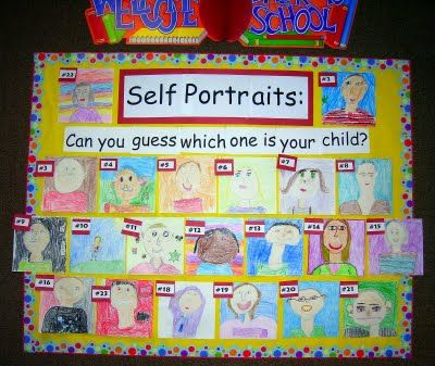Self Portraits Bulletin Board: Display at Back to School Night and have parents try and guess which one is their child!
