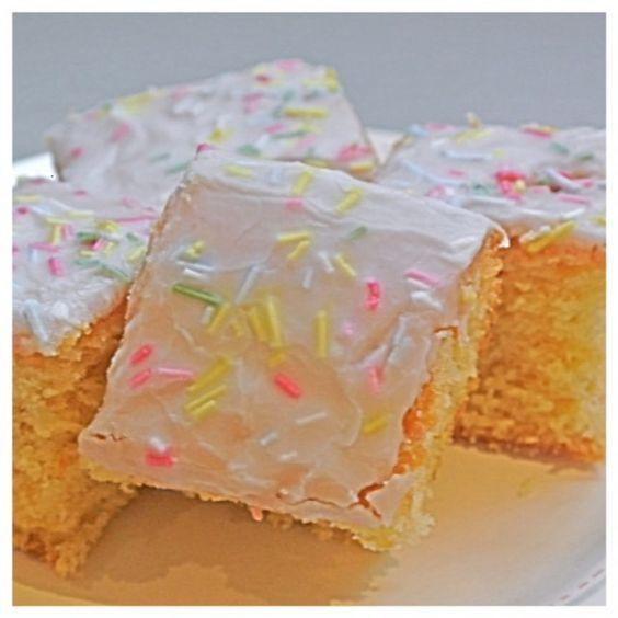 School dinners icing sprinkles cake