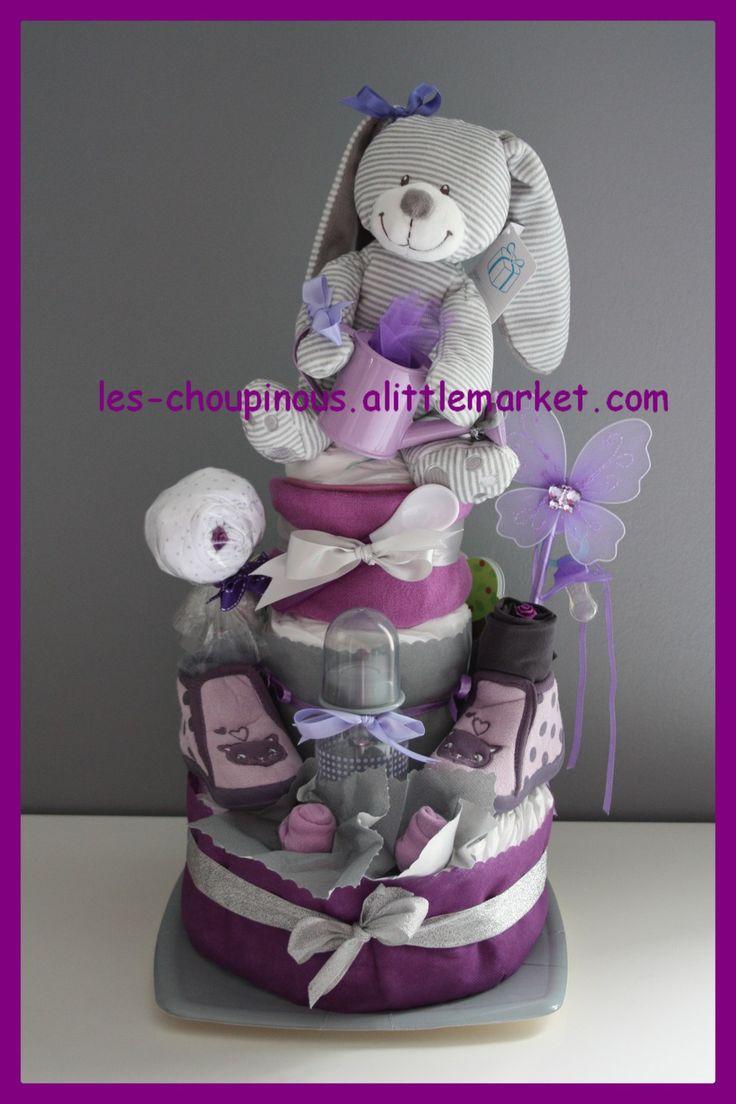 Cadeau original naissance baptême gâteau de couches fille mauve gris : Décoration pour enfants par les-choupinous