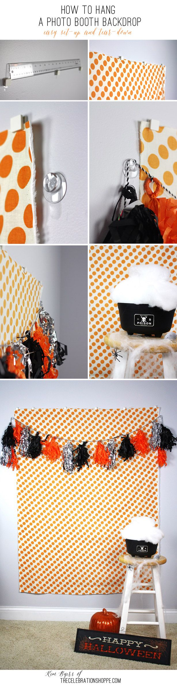 How To Hang A Photo Booth Backdrop – Easy Set-up And Tear-down with @commandbrand   Kim Byers, TheCelebrationShoppe.com #damagefreediy
