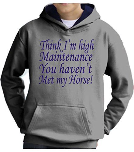 TWO TONE Heather Grey/Navy Hoodie 'THINK I'M HIGH MAINTENANCE YOU HAVEN'T MET MY HORSE' with Pearlescent Blue Print.