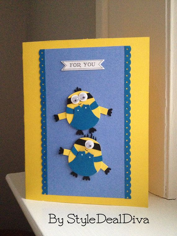 Minion Card by StyleDealDiva on Etsy, $4.00 made using Stampin' Up! owl punch