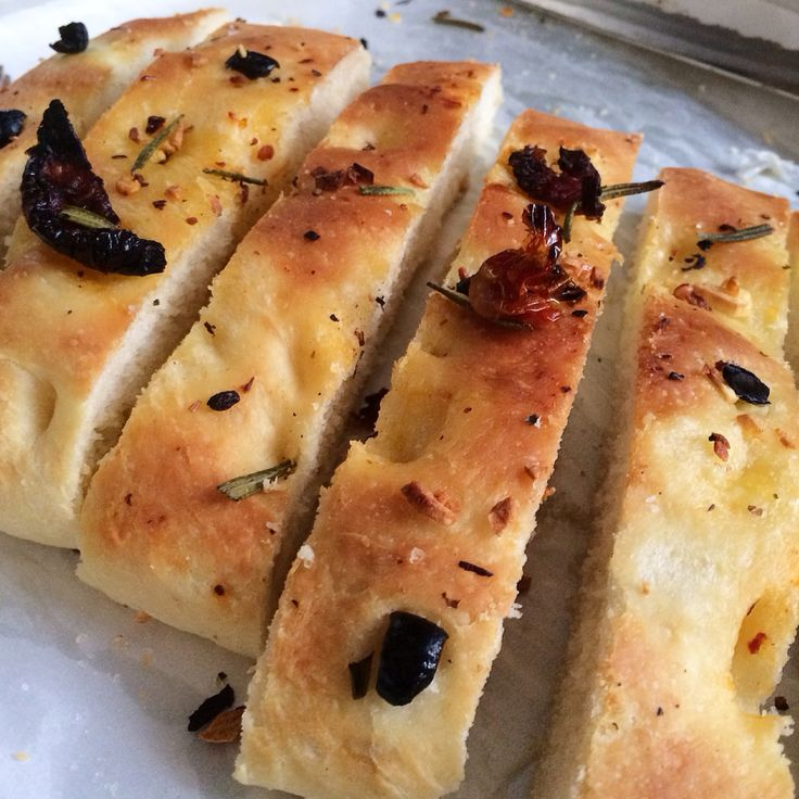 Italian Focaccia Bread with Sundried Tomatoes, Olives, Garlic and Salt