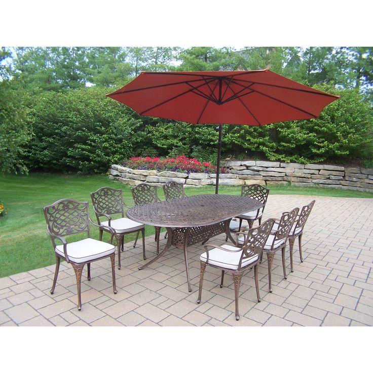 Oakland Living Corporation Dakota 10-Pc Dining Set w/ 1 Oval Table, 8 Cushioned Chairs, 10-ft Orange Cantilever Umbrella and Metal Base (Antique Bronze, Orange Umbrella), Brown, Size 11-Piece Sets, Patio Furniture (Aluminum)