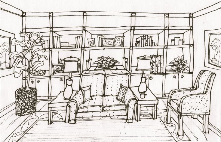 21 best images about 1 point perspective on pinterest - Two point perspective living room ...