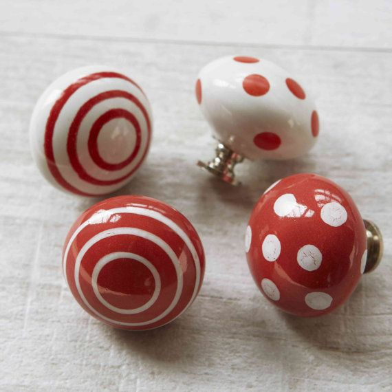 Red spotty ceramic cupboard door knob drawer handle by Pushkaknobs