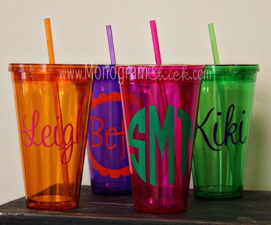 monogrammed iced coffee cups
