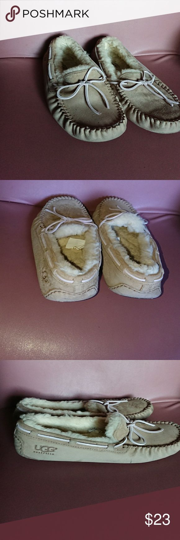 Ugg 8 shearling slippers tan suede moccasins used No defects, minor front wear. UGG Shoes Slippers