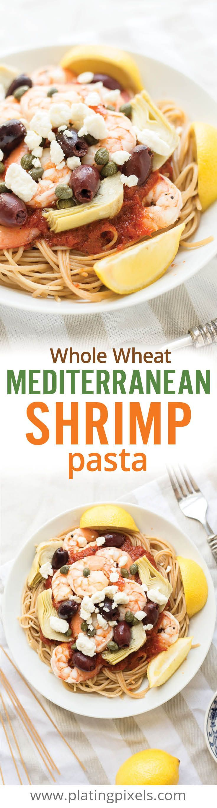 Healthy lightened up Mediterranean Shrimp Pasta with Whole Wheat Spaghetti. Garlic lemon shrimp over a bed of whole wheat noodles with kalamata olives, artichoke hearts, capers and feta cheese. Gluten free option. - www.platingpixels.com