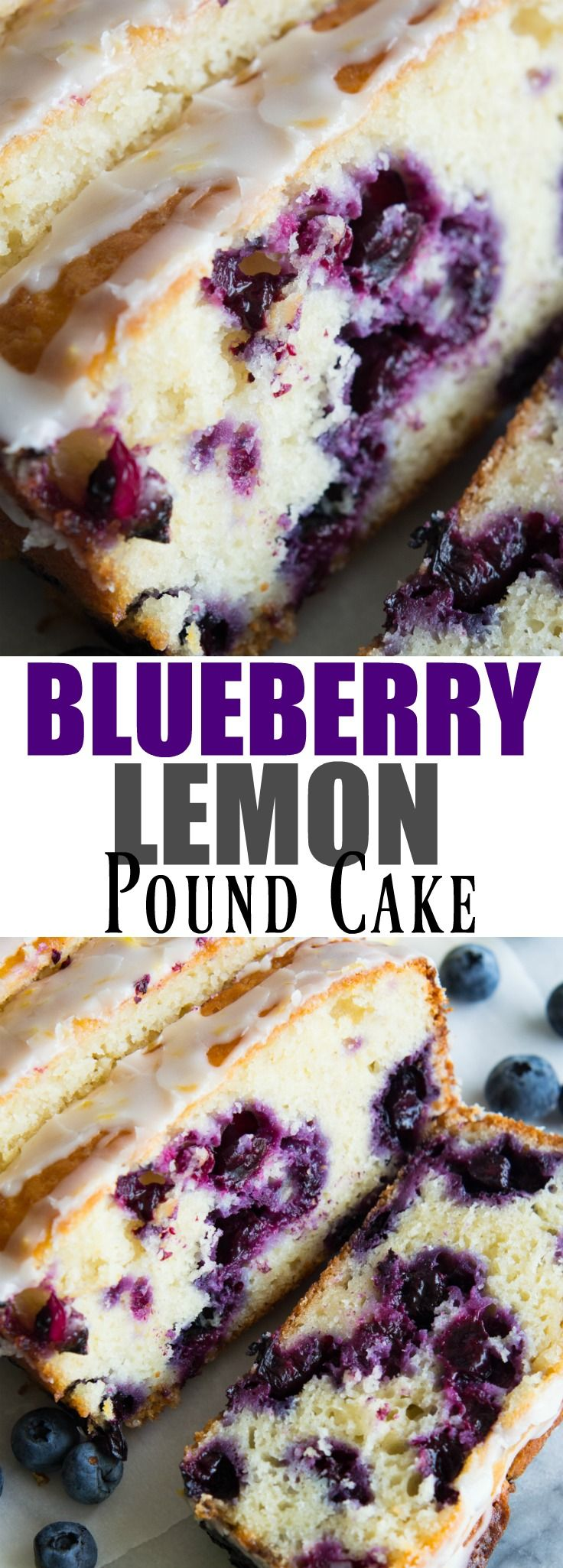 Blueberry Lemon Pound Cake!  This pound cake is made lighter by using greek yogurt, and is loaded up with lemon flavor thanks to zest and fresh lemon juice!  Juicy blueberries are baked right in.  All drizzled with a luscious lemon glaze.