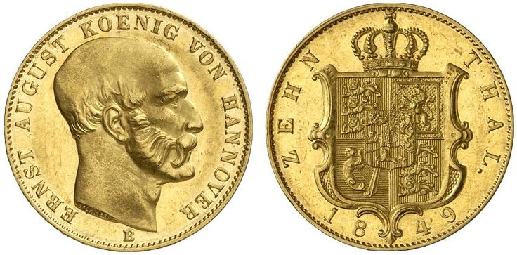 AV 10 Taler. Germany Coins, Hannover, Ernst August 1837-1851. 1849 B, Hannover mint. 13,30g. F 1175. EF. Price realized 2011: 2.400 USD.