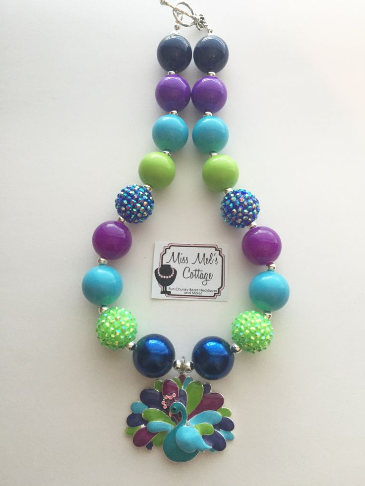 Gorgeous Peacock chunky bead necklace by MissMelsCottage on Etsy