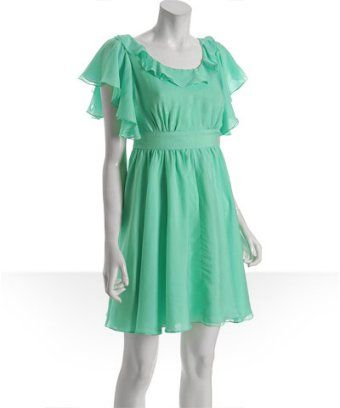 Walter Chiffon Mint Ruffle Cutout Back Dress