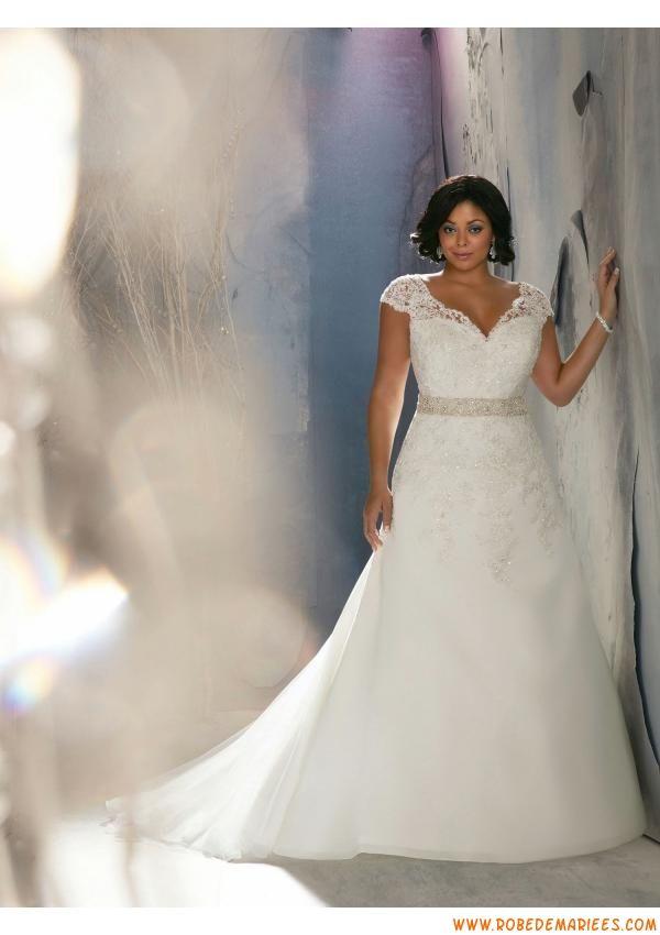 Robe de mariée grande taille organza dentelle cristal