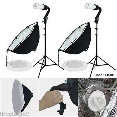 "24"" Photography Photo Equipment Softbox Studio Light Lighting Kit"