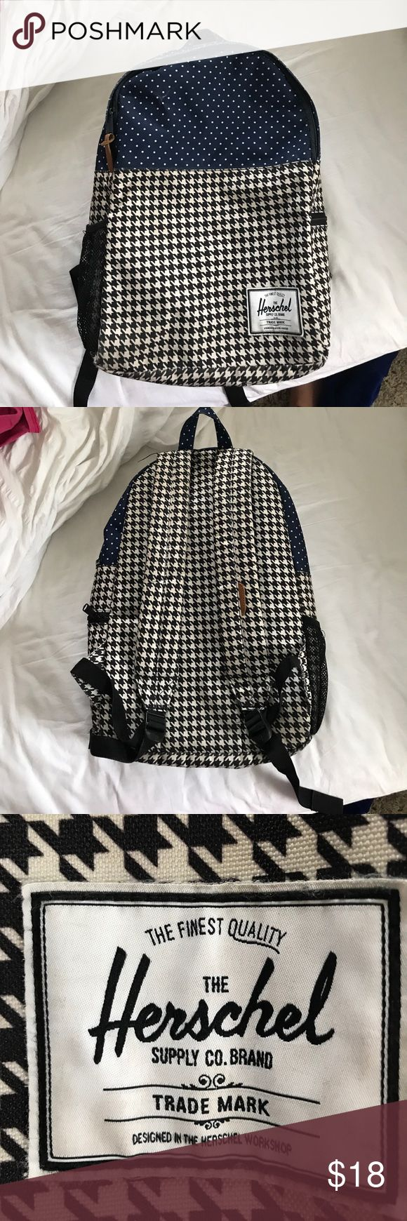 Herschel Backpack! Herschel Backpack. Excellent used condition. No rips in fabric. Minor wear. Zipper works great with leather pull. Inside Backpack has laptop sleeve. Small side zipper and water bottle holder. Herschel Supply Company Bags Backpacks