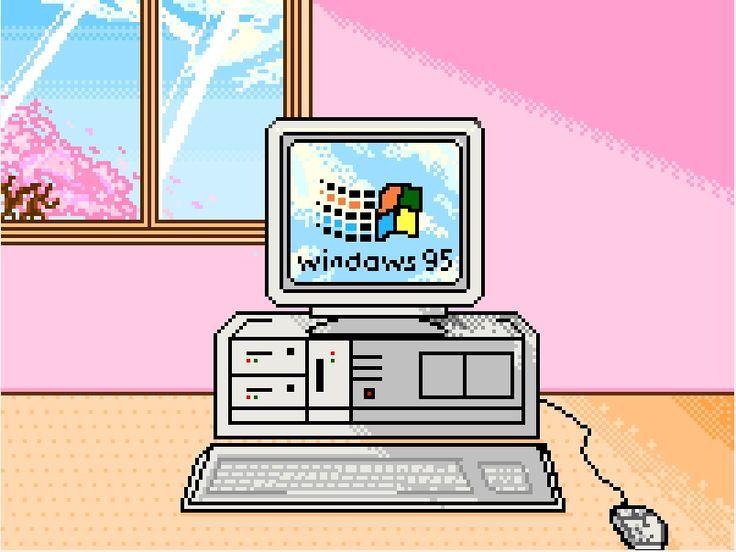 1990s Pink Microsoft Windows 95 Digital Computer Art Pastel Girl