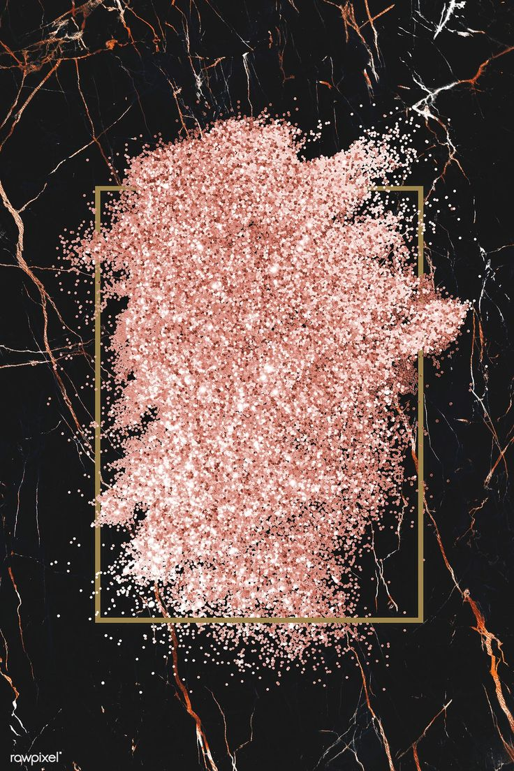 Pink gold glitter with a brownish red rhombus frame on a black marble background...