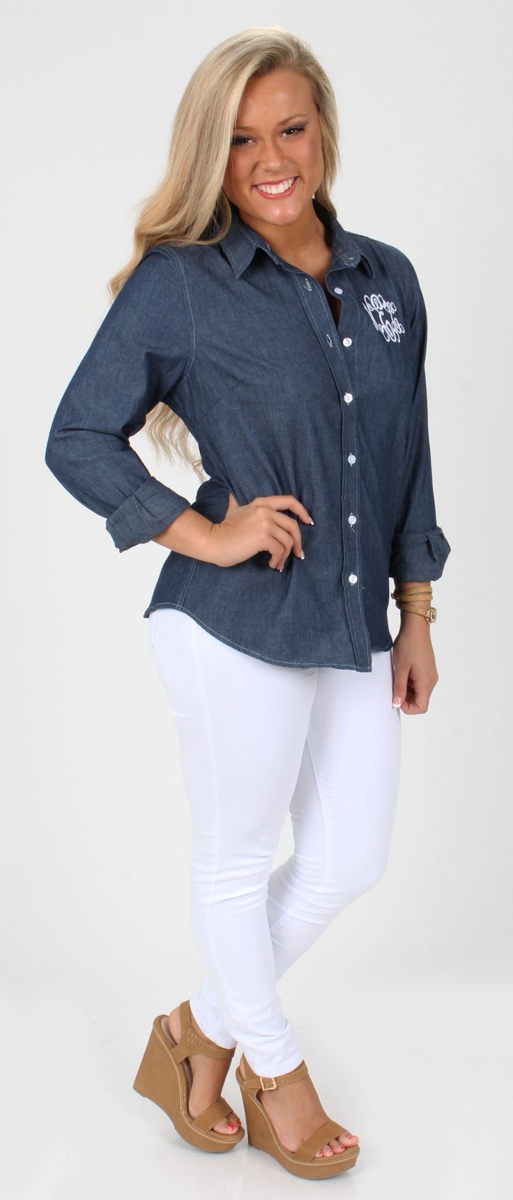Hey Ladies, it is almost time to wear white pants again (Wahoo)! Get ready to rock this look with our $34.99 Monogrammed Ladies Long Sleeve Denim Shirt from marleylilly.com