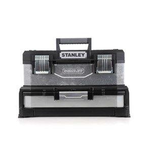 Boite à outils à tiroir galvanisée 51cm - Marque Stanley - Bi matière : métal galvanisé et polypropylène - Poignée télescopique ajustable - 4 tiroirs profonds ajustables permettant le stockage d'outils énergisés ou de petits outils