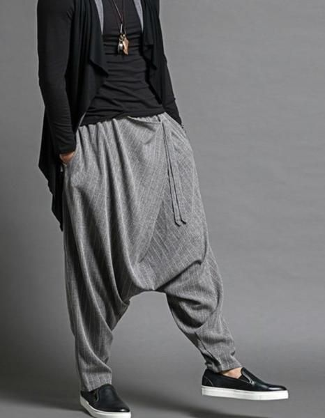 a2517b01fd3641 MOO Drop Crotch Striped Harem Pants Sirwal in grey-MOOMENN Harem Pants,  Trousers,