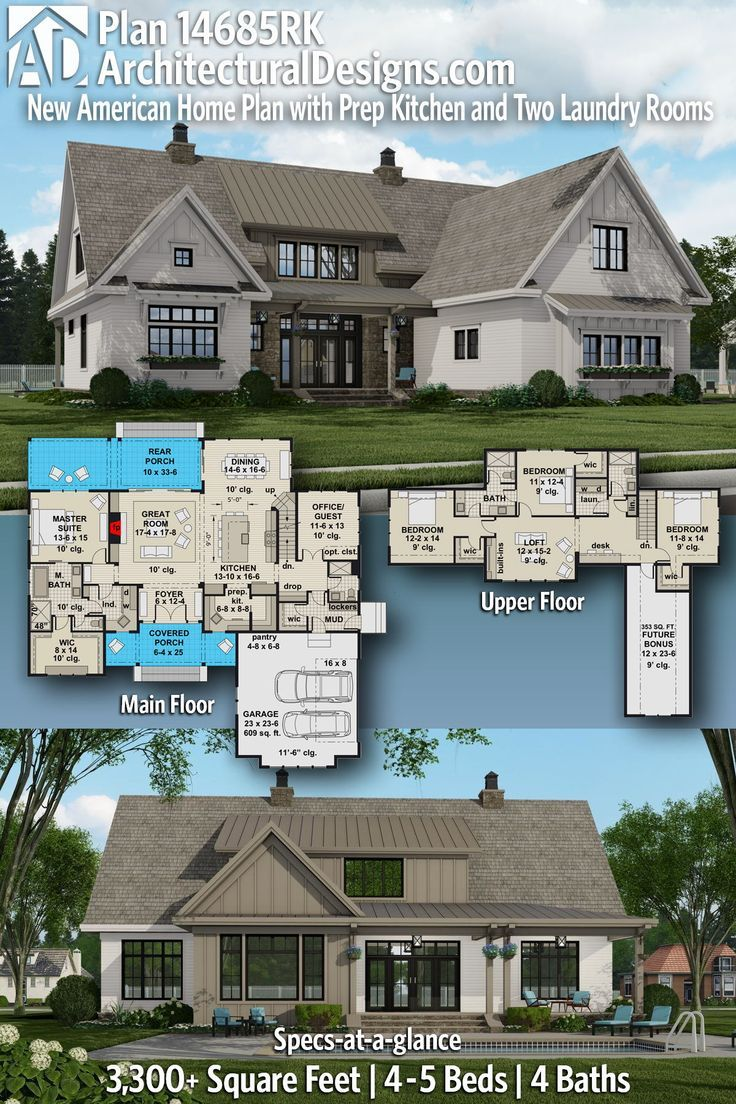 Plan 14685rk New American House Plan With Prep Kitchen And Two Laundry Rooms American Houses Architectural Design House Plans Dream House Plans