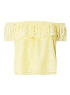 Womens Yellow Lace Frill Bardot Top- Yellow