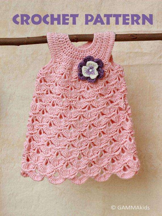 Bebé del ganchillo patrón, patrón de vestido de niña de bautizo bebé, vestido de bautizo para bebé gir, 0-6 meses, GAMMAkids