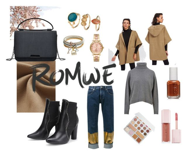 """Buttoned Detail Poncho Coat"" by b-olomo ❤ liked on Polyvore featuring Pottery Barn, Dolce&Gabbana, Loewe, MICHAEL Michael Kors, BHCosmetics, Essie, Puma, romwe and blackbooties"
