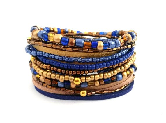 Blue Gold Brown Bracelet Wrap Bracelet Seed by AccessoriesByLO