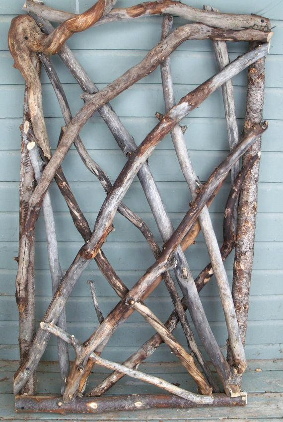 Twig art idea.  Rustic Stickwork Garden Gate, Fence Gate, The Stick Stack