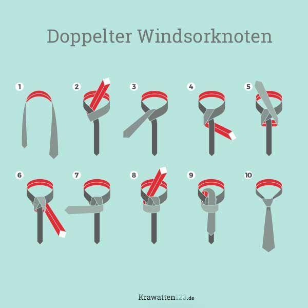 Doppelter Windsorknoten Krawatte Binden Krawatte Krawatte Binden Doppelter Windsor