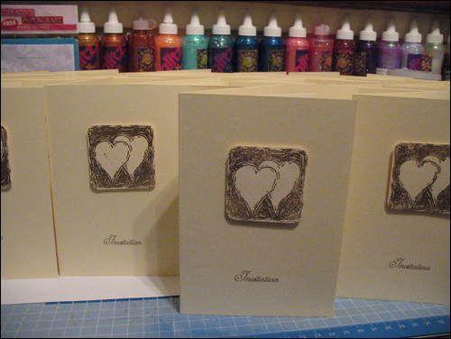 Golden wedding invitations using Judikins wedding cube stamp