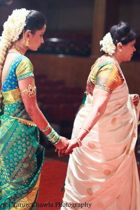South Indian bride. Temple jewelry. Jhumkis.silk kanchipuram sari.Braid with fresh jasmine flowers. Tamil bride. Telugu bride. Kannada bride. Hindu bride. Malayalee bride.Kerala bride.South Indian wedding