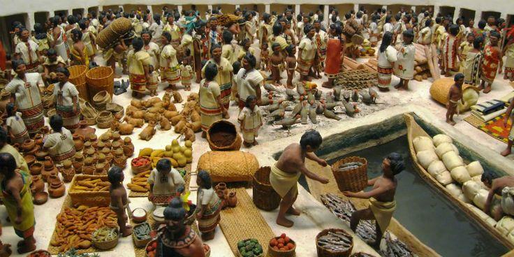 La meticulosa organización  y la inmensa variedad de los productos del mercado de Tlatelolco era un mundo desconocido para los conquistadores