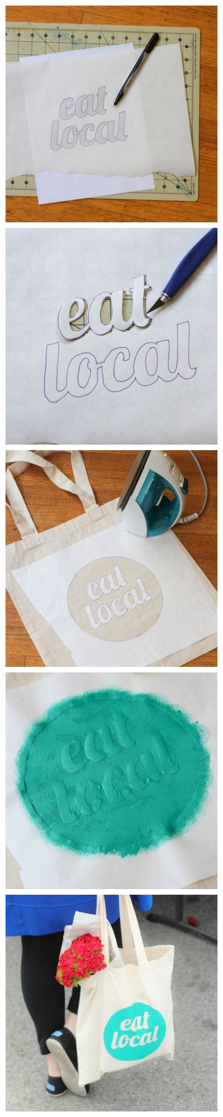 DIY. Freezer Paper Stencil!!. Do it yourself Tasche. Einkaufstasche. Jutebeutel.